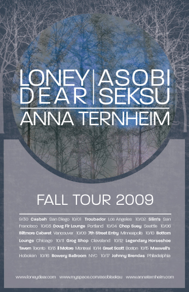 loney dear fall 2009 tour poster
